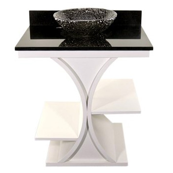 JSG Oceana CRZ-VAN-WHT Cruz Vanity and Black Granite Vessel Top