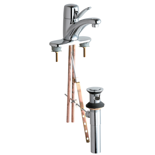 Chicago Faucets 2201-4ABCP Single Lever Hot and Cold Water Mixing Sink Faucet with Popup Waste - Chrome