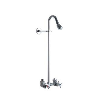 Chicago Faucets 752-RCF Exposed Two Handle Shower Kit - Rough Chrome Finish