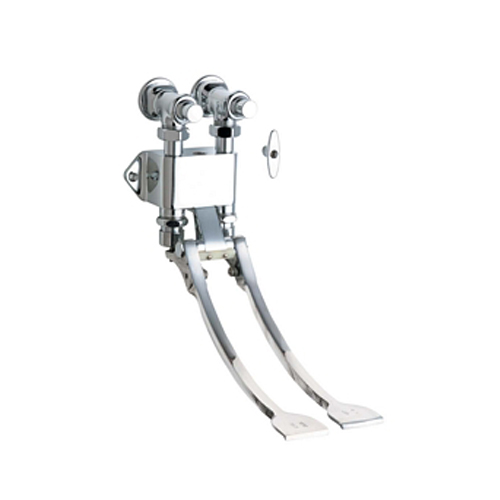 Chicago Faucets 834-EPABCP Hot and Cold Water Pedal Box with Extended Pedals - Chrome