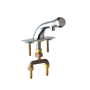 Chicago Faucets 844-E12-665PSHABCP Hot and Cold Water Mixing Metering Sink Faucet - Chrome