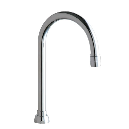 Chicago Faucets GN2AE35JKABCP 5-1/4 in Rigid / Swing Gooseneck Spout - Chrome