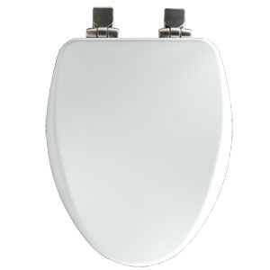 Bemis 18170NISL000 High Density Molded Wood Elongated Toilet Seat with Brushed Nickel Hinges - White