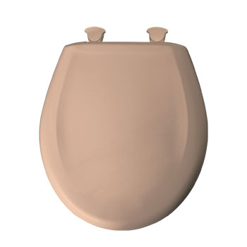 Bemis 200SLOWT.048 Round Closed Front Toilet Seat with Cover - Brown/Tan
