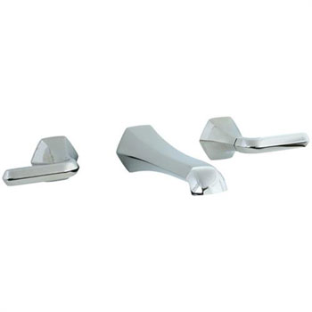 Cifial 201.156.620 Hexa 3-Hole Wall Mount Lavatory Faucet with Lever Handles - Satin Nickel