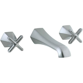Cifial 202.156.620 Hexa 3-Hole Wall Mount Lavatory Faucet with Cross Handles - Satin Nickel