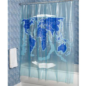Croydex AE580815YW World Map Shower Curtain - White