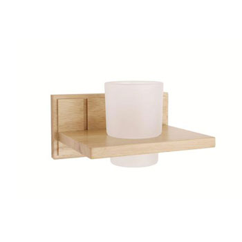 Croydex WA971876YW Maine Tumbler Holder - Natural Wood