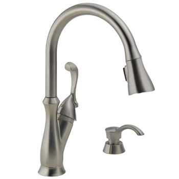 Delta 19950-SSSD-DST Arabella Single Handle Pull-Down Kitchen Faucet with Soap Dispenser - Brilliance Stainless