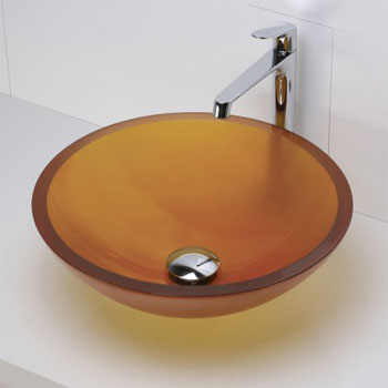 Decolav 1019T-FAM Round 19mm Glass Vessel Sink - Frosted Amber