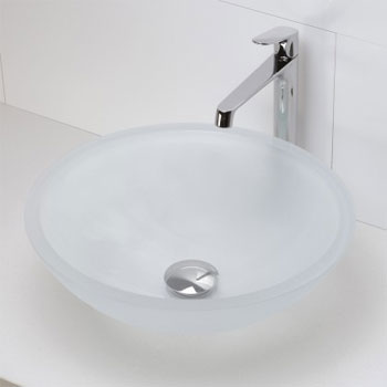 Decolav 1019T-FCR Round 19mm Glass Vessel Sink - Frosted Crystal