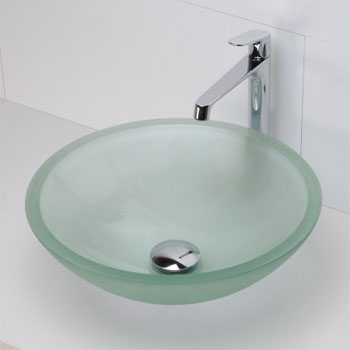 Decolav 1019T-FNG Round 19mm Glass Vessel Sink - Frosted Natural Glass