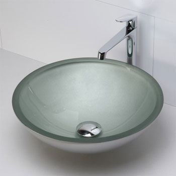 Decolav 1019T-PMS Round 19mm Glass Vessel Sink - Painted Metallic Silver