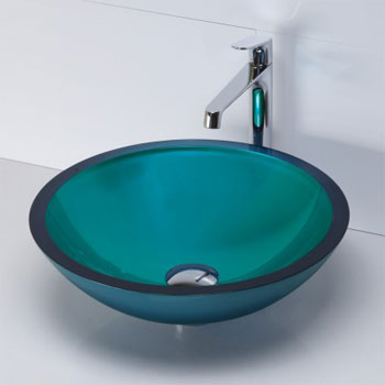 Decolav 1019T PTQ Round 19mm Glass Vessel Sink   Painted Turquoise