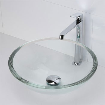 Decolav 1019T-TCR Round 19mm Glass Vessel Sink - Transparent Crystal