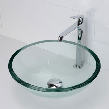 Decolav 1019T-TNG Round 19mm Glass Vessel Sink - Transparent Natural Glass