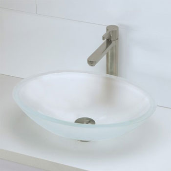 Decolav 1129T-FCR Oval 19mm Glass Vessel Sink - Frosted Crystal