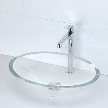 Decolav 1129T-TCR Oval 19mm Glass Vessel Sink - Transparent Crystal