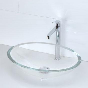 Decolav 1129T TCR Oval 19mm Glass Vessel Sink   Transparent Crystal