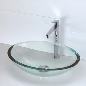 Decolav 1129T-TNG Oval 19mm Glass Vessel Sink - Transparent Natural Glass