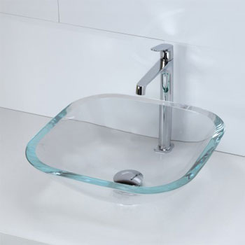 Decolav 1139T-TCR Square 19mm Glass Vessel Sink - Transparent Crystal