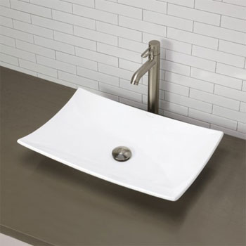 Decolav 1443-CWH Above Counter Rectangular Lavatory Sink - Ceramic White