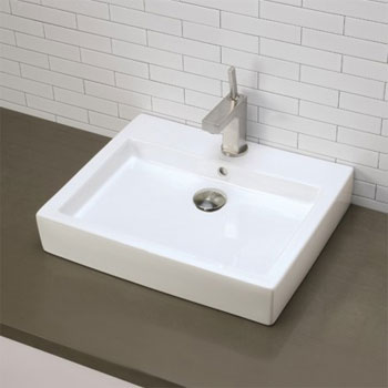 Decolav 1444-CWH Above Counter Rectangular Lavatory Sink - Ceramic White