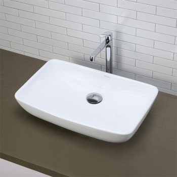 Decolav 1445-CWH Above Counter Rectangular Lavatory Sink - Ceramic White