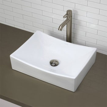 Decolav 1446-CWH Above Counter Rectangular Lavatory Sink - Ceramic White