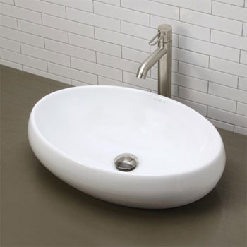 Decolav 1447-CWH Above Counter Oval Bathroom Sink - Ceramic White