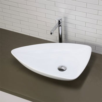 Decolav 1449-CWH Above Counter Triangular Lavatory Sink - Ceramic White
