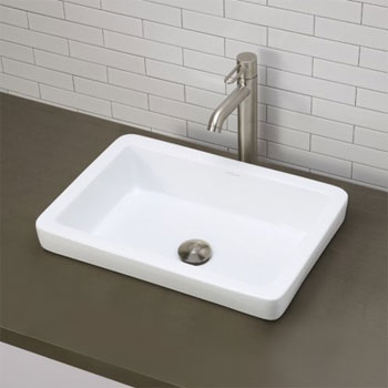 Decolav 1453-CWH Semi-Recessed Rectangular Lavatory Sink - Ceramic White
