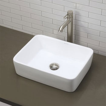 Decolav 1454-CWH Above Counter Rectangular Lavatory Sink - Ceramic White