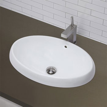 Decolav 1455-CWH Semi Recessed Oval Lavatory Sink - Ceramic White