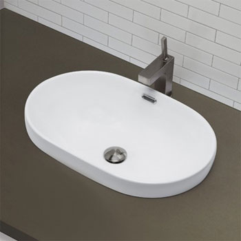 Decolav 1456-CWH Semi Recessed Oval Lavatory Sink - Ceramic White