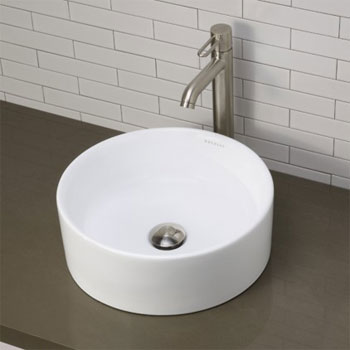 Decolav 1458-CWH Semi Recessed Oval Lavatory Sink - Ceramic White