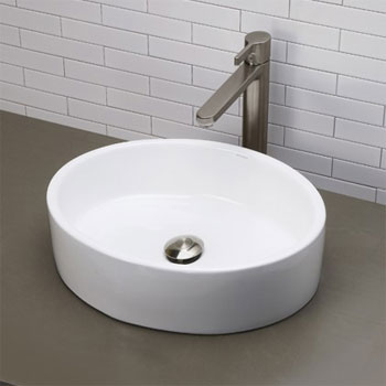 Decolav 1459-CWH Above Counter Oval Bathroom Sink - Ceramic White