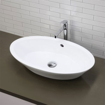 Decolav 1463-CWH Oval Above Counter Lavatory Sink - Ceramic White