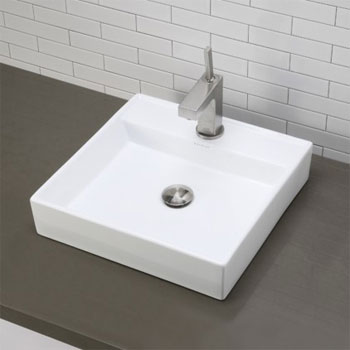 Decolav 1464-CWH Square Above Counter Lavatory Sink - Ceramic White