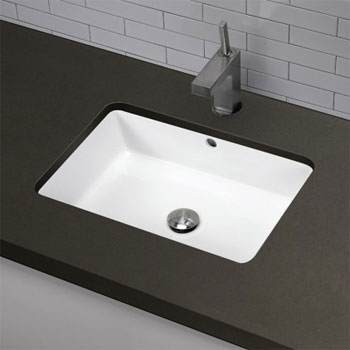 Deep Undermount Sink : Decolav 1482-CWH Rectangular Undermount Lavatory Sink - Ceramic White ...