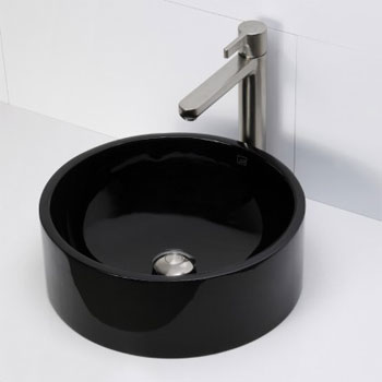 Decolav 2806-OBS Round Above Counter Resin Lavatory - Obsidian