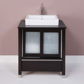 Decolav 5247-ESP Tyson Vanity with Granite Top in Carmello and Vitreous China Lavatory - Espresso
