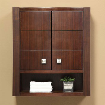 Decolav 5251-MWN Adrianna Wall Cabinet - Medium Walnut (Pictured in Dark Walnut)
