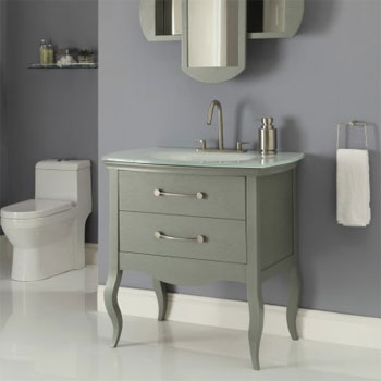 Decolav 5265-SLT Gabrielle Vanity with Glass Top and Integrated Lavatory - Slate