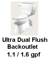 Gerber DF-21-325 Ultra Dual Flush Elongated Blackoutet Toilet - White
