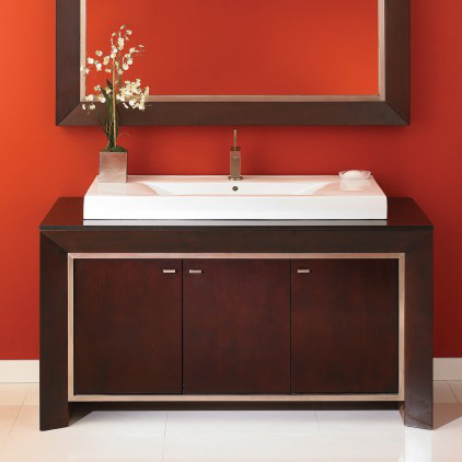 DecoLav 5660-RM Cityview Main Vanity Cabinet with Granite Top - Red Mahogany