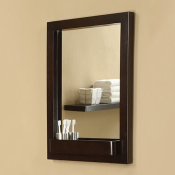 DecoLav 9745-ESP Solid Wood Mirror with Integrated Storage Shelf - Espresso