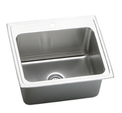 Elkay DLR252212-3 Gourmet (Lustertone) Self-Rim Single Bowl Kitchen Sink Stainless Steel - 3 Holes