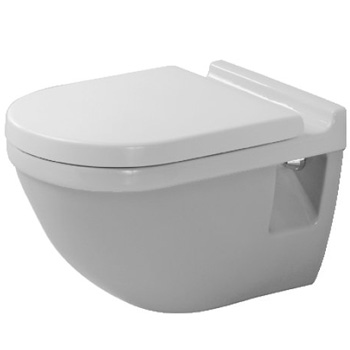 Duravit 2200090092 without WonderGliss Starck 3 One-Piece Round Toilet Less Seat - White