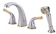 Danze D301771CPBV Plymouth Roman Tub Faucet With Soft Touch Personal Shower - Chrome with Polished Brass